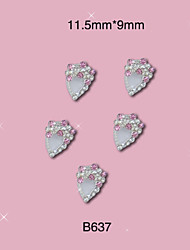 B637 11.5mm*9mm Princess Pink Shinning Rhinestones Silver 3d Nail Art Decoration Alloy Jewelry for Nails 10pcs