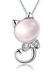Cute Cat Pink Crystal Sterling Silver CZ Necklace Pendant Necklaces Daily / Casual 1pc