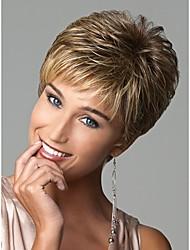 perruques synthétiques de style chic et courtes droites perruques brun clair de cheveux avec une frange perruques naturelles plein pour