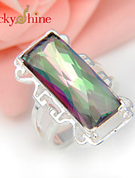 Lucky Shine Special Unisex Silver Rings With Gemstone Fire Rainbow Mystic Topaz Crystal Holiday Gift Paryt Jewelry