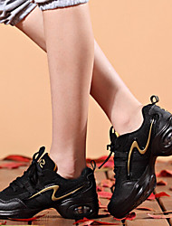 Women's Dance Shoes Sneakers Breathable Synthetic Low Heel Gold/Red