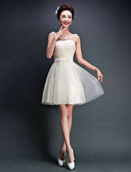 Vestido de Dama de Honor - Corte en A Cuchara - Corta/Mini Tul