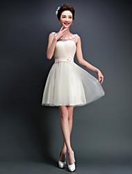 Short/Mini Tulle Bridesmaid Dress-Ivory A-line Scoop
