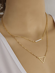 Women's Fashion Metal Triangle Pearl Short Necklace