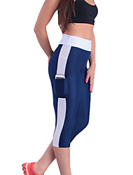 Women's Casual Color Block Fitness Active Pants with Side Pocket