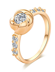 BIN BIN Women's Fashion Roses White Zirconium 18k Gold Plated  Ring