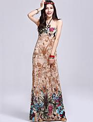 Women's Halter Strapless Bohemian Sleeveless Maxi Dress