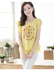 Women's White/Yellow Blouse Short Sleeve