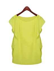 Women's Casual/Daily Simple Summer Blouse,Solid Round Neck Sleeveless Pink / Green Thin
