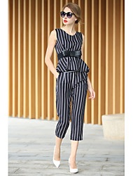 Women's Striped/Patchwork Multi-color Vest , Round Neck Sleeveless Bow