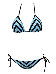 Women's Sexy Summer Holiday Stripe Triangle Top Bikini Set