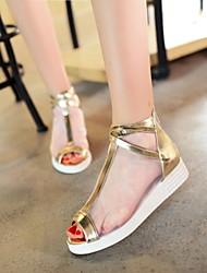 Women's Shoes Wedge Heel Open Toe Sandals Dress Silver/Gold