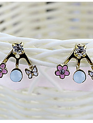 Sweet Tiny Flower And Bowknot Rhinestone With Gold Alloy Stud Earrings