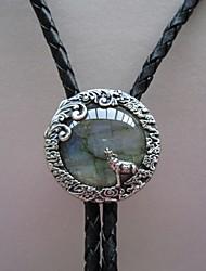 Original Handcraft Nature Labradorite Stone Moon Wolf Oval Wedding Bolo Tie BOLOTIE-012SL
