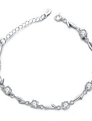 Jazlyn Authentic Platinum Plated 925 Sterling Silver Woman Cubic Zircon Link Chain Bracelet for Girlfriend Ladybro