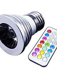 E27 3W RGB Color Spotlights Permanent Synchronous Remote LED 288 Spotlights