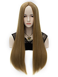 New Women's Long Straight Synthetic Costume Party Full Cosplay Hair Wig Mix Brown and Flaxen