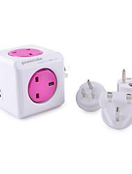 Allocacoc 1850 / ukru4p cube UK Plug 4 prises + bouchons prise USB double + 4-voyage - violet