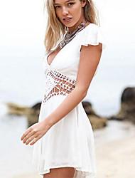 Women's Sexy Backless Dress White Piece Dress