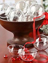 Clear Plastic Acrylic Fillable Ball Ornament 80mm - Pack of 5
