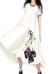 De las mujeres Línea A / Corte Ancho Vestido Vintage Estampado Asimétrico Escote en Pico Algodón / Lino