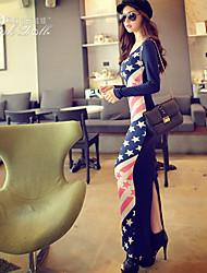 Pink Doll®Women's Bodycon/Casual/Print Micro-elastic Long Sleeve Maxi Dress