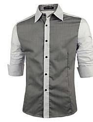 Men's Casual/Work/Formal Pure Long Sleeve Regular Shirt