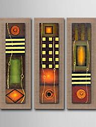 olieverf decoratie abstract hand beschilderd doek met gespannen ingelijst - set van 3