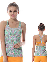 Yokaland Body Shaper Yoga Tank Unique Back Strap Design High Stretchy with Paisley Print Sports Wear