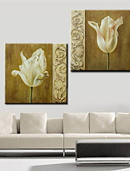 Oil Painting Decoration Abstract Flowers Hand Painted Canvas with Stretched Framed - Set of 2