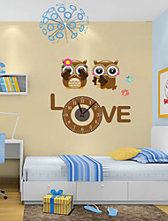 Modern Style DIY Lovely Cartoon Lovers Owl Mute Wall Clock