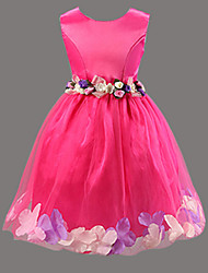 Girl's Solid Flower Sleeveless Knee-length Princess Dress,Cotton Blend Summer / Spring / Fall Blue / Pink / Purple / Red / White