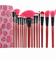 Professional 18 Pcs Rose Red Cosmetic Makeup Brush Kit Brand Makeup Brush Set Makeup Brushes with PU Leather Case