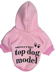 Cat Dog Hoodie Pink Dog Clothes Winter Spring/Fall Letter & Number Fashion