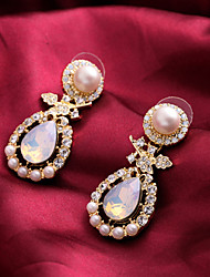 Fashion Lady's Inlay Diamond Pearl Drop Earrings(1Pair)
