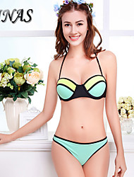 TIN010®Women's Padded Bras/Underwire Bra Color Block/Tassels/Floral/Animal/Bandage/Geometric Halter Bikinis