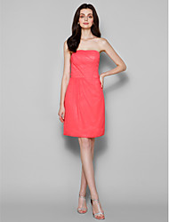 Knee-length Chiffon Bridesmaid Dress - Watermelon Sheath/Column Strapless