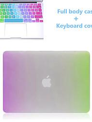 venda topo do arco-íris magro aleta de corpo inteiro e TPU caso capa de teclado difícil para macbook retina de 13,3 polegadas