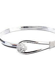 Charming Rose Garden Pattern Bangle Bracelet Silver