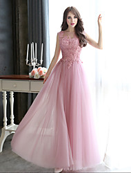 Formal Evening / Black Tie Gala Dress Sheath / Column Bateau Floor-length Tulle with Appliques / Beading