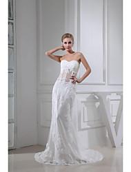 Sheath/Column Wedding Dress - White Court Train Sweetheart Chiffon/Tulle