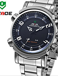 WEIDE Men Sports Analog & Digital LED Display Multi-functional Full Stainless Steel Wrist Watch