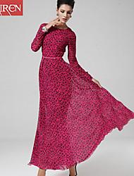 Muairen®Women'S Classic Long-Sleeved Dress Was Thin Fishtail Skirt Leopard