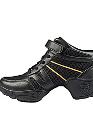 Non Customizable Women's Dance Shoes Dance Sneakers/Modern/Gymnastics Leather/Fabric Chunky Heel Black/Gold