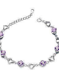 Jazlyn® Authentic Platinum Plated 925 Sterling Silver Woman Heart Purple Cubic Zirconia Link Bracelet