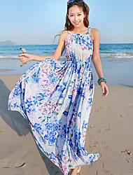 De las mujeres Recto Vestido Vintage / Playa Floral Maxi Halter Raso