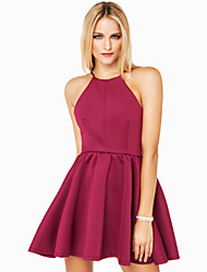 Women's Solid Dress , Bodycon/Party Halter Sleeveless