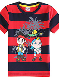 Boy's Stripes Captain Jack Printing Summer Children Tees(Random Printed)