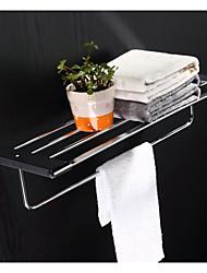 Bathroom Chrome Finsh Wall Mounted Square Towel Shelf with Bar