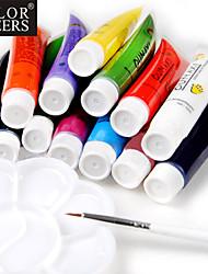 12-Color Acrylic Nail Art Painting Pigment Kits